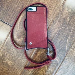 Red bandolier iPhone 8plus phone case with strap